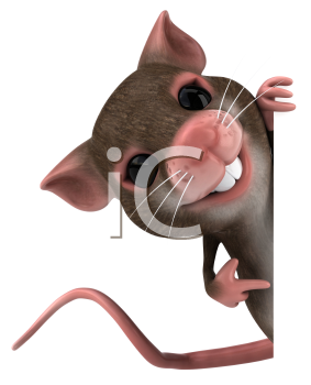 Royalty Free 3d Clipart Image of a Mouse Pointing to a Blank Sign Board