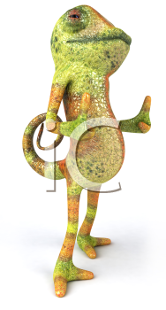Royalty Free 3d Clipart Image of a Chameleon Giving Thumbs Up Signs