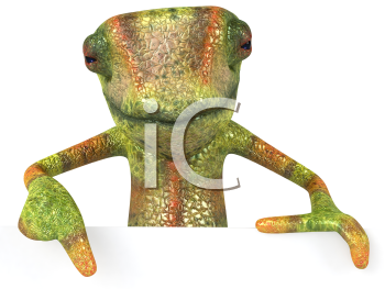 Royalty Free 3d Clipart Image of a Chameleon Pointing to a Sign Board