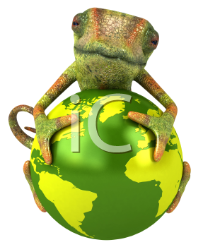 Royalty Free 3d Clipart Image of a Chameleon Holding a Green Globe