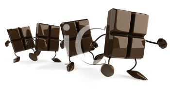 Royalty Free Clipart Image of a Group of Walking Chocolate Pieces