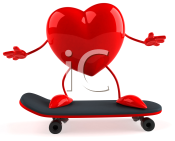 Royalty Free 3d Clipart Image of a Heart Riding a Skateboard