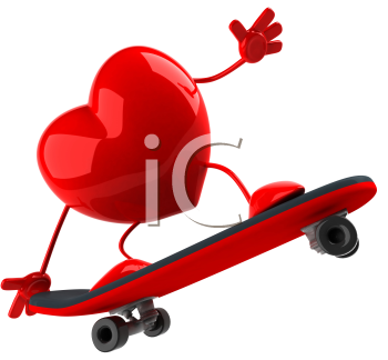 Royalty Free Clipart Image of a Skateboarding Heart