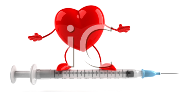 Royalty Free Clipart Image of a Heart on a Needle