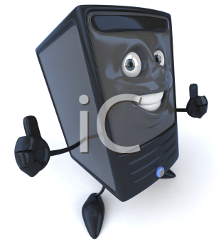Royalty Free 3d Clipart Image of a Computer Giving Thumbs Up Signs