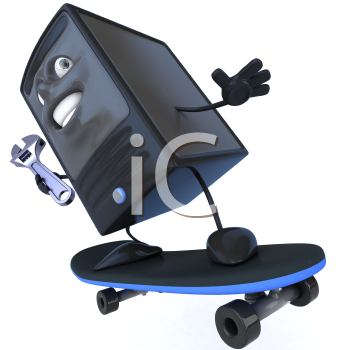 Royalty Free 3d Clipart Image of a Computer Riding a Skateboard Holding a Wrench