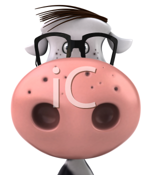 Royalty Free Clipart Image of a Cow Wearing Glasses