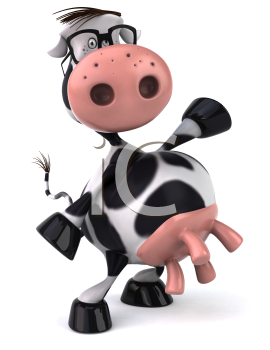 Royalty Free Clipart Image of a Standing Holstein Cow Wearing Spectacles