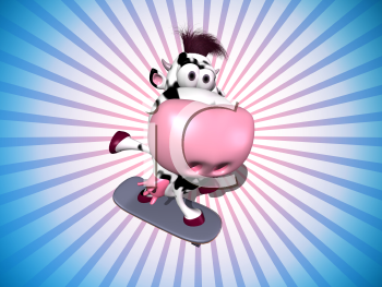 Royalty Free 3d Clipart Image of a Cow Riding a Skateboard