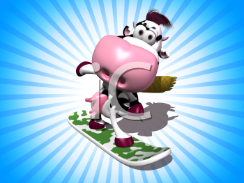 Royalty Free 3d Clipart Image of a Cow Riding a Snowboard