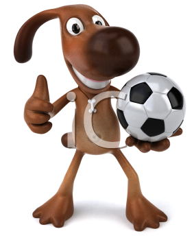 Royalty Free 3d Clipart Image of a Dog Holding a Soccer Ball