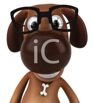 Royalty Free 3d Clipart Image of a Dog Wearing Black Rimmed Glasses