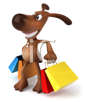 Royalty Free 3d Clipart Image of a Dog Carrying Colorful Shopping Bags