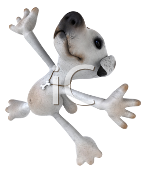 Royalty Free 3d Clipart Image of a Jack Russell Terrier Dog Jumping