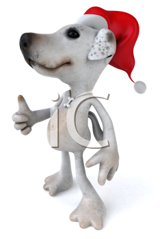Royalty Free 3d Clipart Image of a Jack Russell Terrier Dog Wearing a Santa Hat and Giving a Thumbs Up Sign