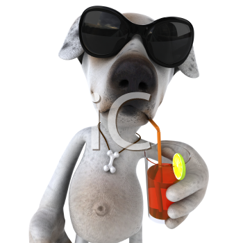 Royalty Free 3d Clipart Image of a Jack Russell Terrier Dog  Wearing Sunglasses and Sipping a Drink With a Straw