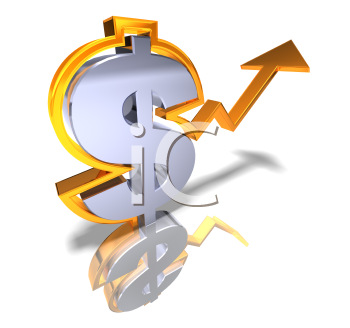 Royalty Free 3d Clipart Image of a Dollar Sign With an Arrow Pointing Upwards