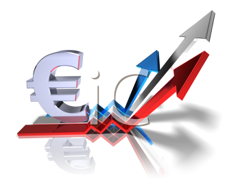 Royalty Free 3d Clipart Image of a Euro Sign with Three Arrows Pointing Upwards