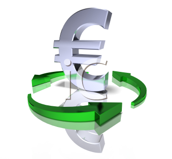 Royalty Free 3d Clipart Image of a Euro Sign Surrounded by Green Arrows