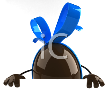 Royalty Free Clipart Image of a Chocolate Egg With a Bow