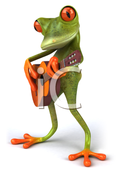 Royalty Free 3d Clipart Image of a Frog Playing a Guitar