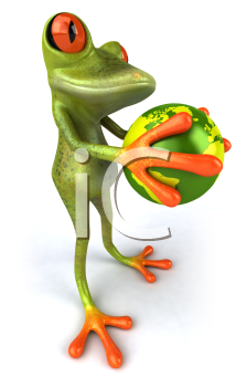 Royalty Free 3d Clipart Image of a Frog Holding a Globe