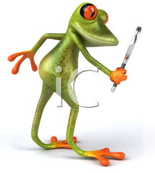 Royalty Free 3d Clipart Image of a Frog Looking Through a Magnifying Glass