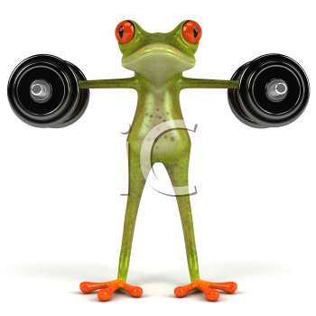 Royalty Free Clipart Image of a Frog Lifting Weights