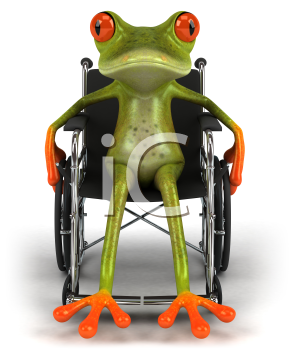 Royalty Free Clipart Image of a Frog in a Wheelchair