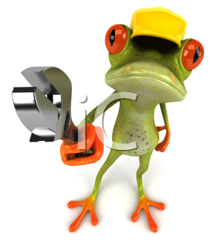 Royalty Free Clipart Image of a Frog in a Hardhat Carrying a Wrench