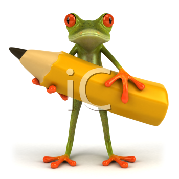 Royalty Free Clipart Image of a Frog With a Big Pencil