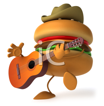 Royalty Free Clipart Image of a Burger Wearing a Cowboy Hat and Playing a Guitar