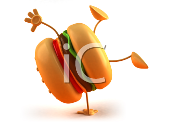 Royalty Free 3d Clipart Image of a Hamburger Doing a Handstand