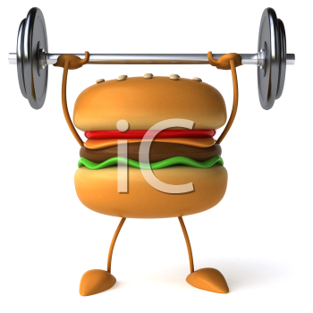 Royalty Free Clipart Image of a Burger Lifting Weights