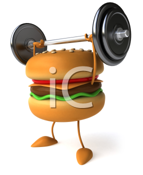 Royalty Free Clipart Image of a Hamburger Lifting Weights