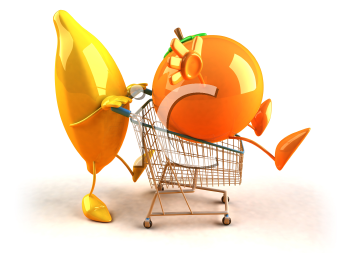Royalty Free 3d Clipart Image of a Banana Pushing a Orange in a Shopping Cart