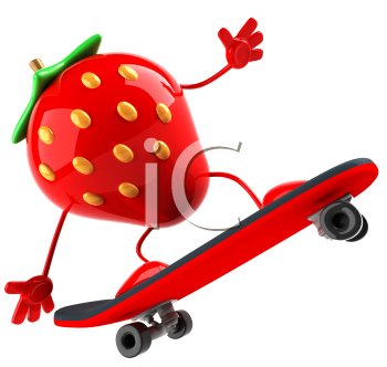 Royalty Free 3d Clipart Image of a Strawberry Riding a Skateboard