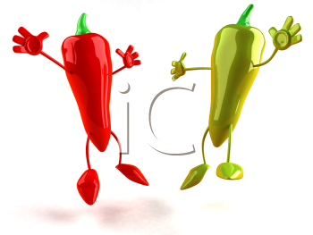 Royalty Free 3d Clipart Image of a Red and Green Pepper