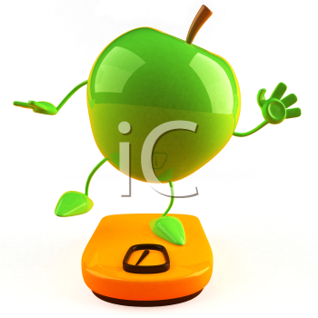 Royalty Free 3d Clipart Image of a Green Apple Standing on a Scale