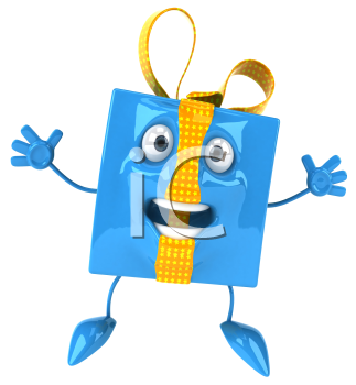 Royalty Free Clipart Image of a Jumping Present