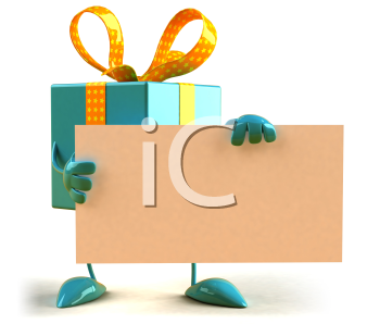 Royalty Free 3d Clipart Image of a Gift Holding a Blank Sign