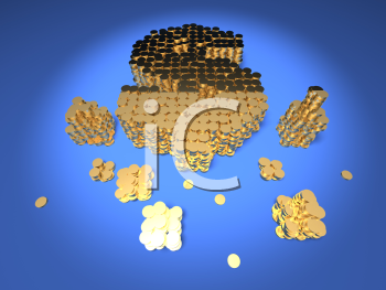 Royalty Free 3d Clipart Image of Stacks of Gold Coins