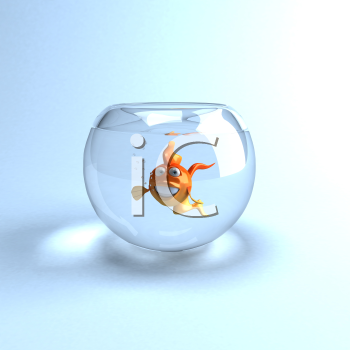 Royalty Free Clipart Image of a Fish in a Glass Bowl