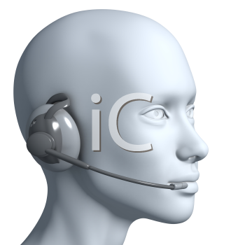 Royalty Free 3d Clipart Image of a Model Head Wearing a Telephone Headset