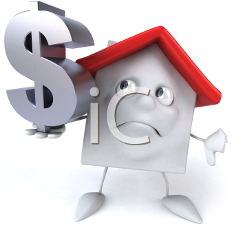 Royalty Free 3d Clipart Image of a House Holding a Dollar Sign Giving a Thumbs Down Sign