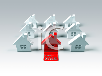 Royalty Free 3d Clipart Image of a Red House Surrounded by White Houses
