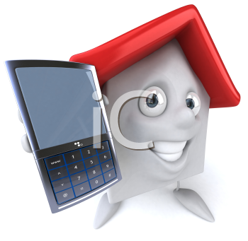 Royalty Free Clipart Image of a House Man With a Cellphone