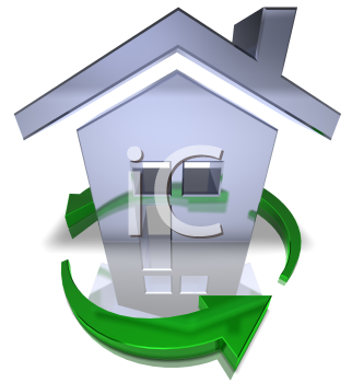 Royalty Free 3d Clipart Image of a House Surrounded by Green Arrows
