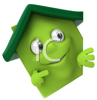Royalty Free Clipart Image of a Pointing Green House