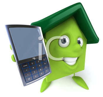 Royalty Free Clipart Image of a Green House With a Cellphone